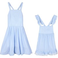 Mommy and Me Sleeveless Light Blue Ruffled Dress