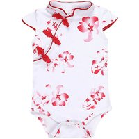 Elegant Floral Cheongsam Bodysuit for Baby Girls