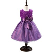 Adorable Bow-Accent Roses Party Dress for Girls