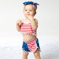 Stylish Red Stripes Tassel Tank Top and Shorts Set for Baby Girls 4th of July