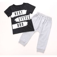 'BEST LITTLE BRO' Black Tee and Grey Pants Set for Baby Boys