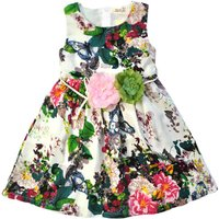 Butterflies Flying Floral Sleeveless Dress for Girls