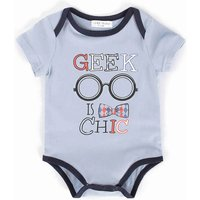 Adorable Glasses Printed Short-sleeve Bodysuit for Babies