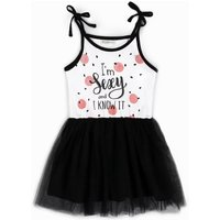 'I'm Sexy and I Know It' Printed Slip Tulle Dress for Toddler Girls