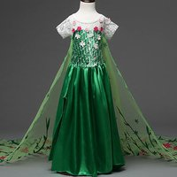 Floral Applique Short-sleeve Green Tulle Dress for Girls