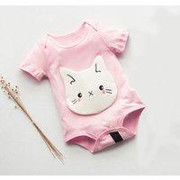 Adorable Cat Head Appliqued Bodysuit for Babies