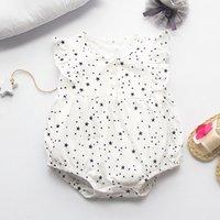 Allover Stars Printed Angel-Sleeve Bodysuit for Babies