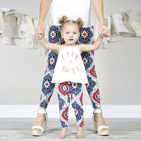 Boho Style Mom and Me Leggings in Blue