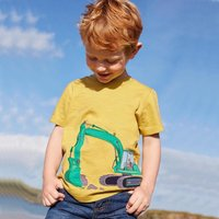 Bright Dog and Excavator Appliqued Short Sleeves T-shirt for Baby and Toddler Boys