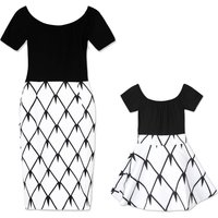 2-Piece Mom and Me Off-shoulder Top and Geo Print Skirt Set
