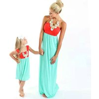 Mommy and Me Sleeveless Color Block Strapless Dress