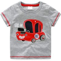 No.82 Cute Red Car Print Grey Tee for Boys