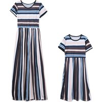 Classic Striped Mom and Me Short-sleeve High Waist Maxi Dress
