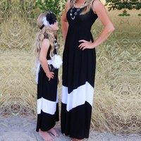 Broad Striped Mom and Me Maxi Sleeveless Dress