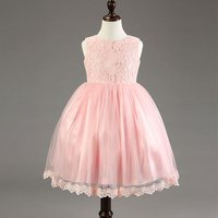 Baby Girl's Oversize Bowknot Lace Mesh Layered Sleeveless Princess Dress