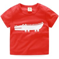 Funny Crocodile Print Short-sleeve Tee in Red for Boys