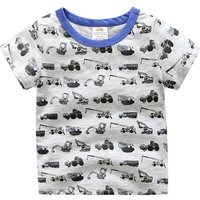 Diggers Printed Short-sleeve Tee for Baby and Toddler Boys