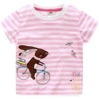 Pastel Pink Rabbit Striped Round Collar Tee for Toddler Girls/Girls