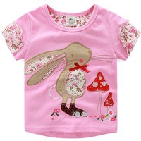 Floral Rabbit Cotton Short-sleeve T-shirt in Pink for Toddler Girls and Girls