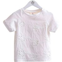 Sweet White Flower Embroidered Cotton Tee for Toddler Girls and Girls
