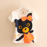 Girl's Print Cotton Puff-sleeve A-line T-shirt in White