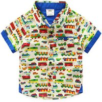 Cars Pattern Beige Short-sleeve Shirt for Baby and Little Boy