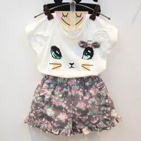 Cat Print Short-sleeve White Tee adn Shorts Set for Baby and Toddler Girls