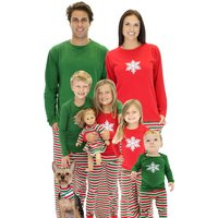 2-piece Stylish Snow Print and Striped Family Matching Set