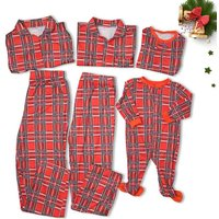 Red Gingham Long-sleeve Top and Pants Matching Family Set