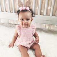 Grace Solid Angle-sleeve Backless Crochet One-piece for Baby Girls