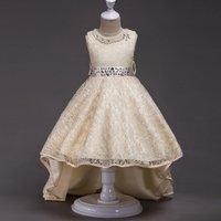 Fairy Solid Sleeveless High-low Princess Dress with Diamond Waistband