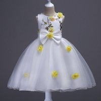 Gorgeous 3D Flower Sleeveless Princess Dress with Bowknot for Girls