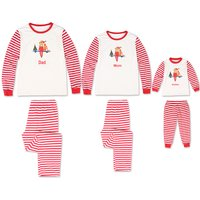 Red Stripes Christmas Long-sleeve Top and Pants Set Family Matching