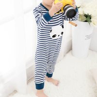 Cute Panda Striped Long Sleeve Jumpsuit in Navy for Baby Boy
