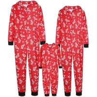Deer Pattern Red Hoodie Top and Pants Family Matching Pajamas Set