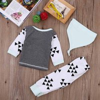 3-piece Triangle Patterned Long Sleeve Top, Bottom and Hat Set for Baby