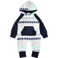 GEO Patterned Hooded Contrast Jumpsuit for Babies