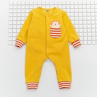 Solid Striped Zoo Printed Zip-up Jumpsuit for Baby
