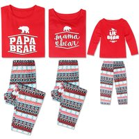 Lovely Bear Print Red Long-sleeve Top and Graphic Stripes Pants Set Family Matching