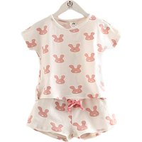 2-piece Rabbit Patterned Tee and Shorts Set for Girls