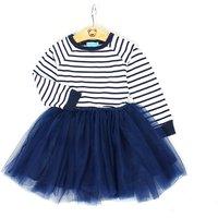 Sweet Stripes Bodice Blue Tulle Dress for Little Girls