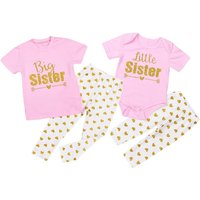 Sweet Letter Printed Matching Set for Baby or Toddler Girls