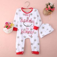 'MY DADDY IS FUNNY' Stars Printed Long Sleeve Jumpsuit for Baby