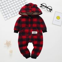 Infant/Toddler's Red Plaid Patterned Hooded Jumpsuit with 3D Ears