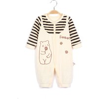 Cuddly Faux-two Bear Embroidered Velvet Striped Jumpsuit for Baby