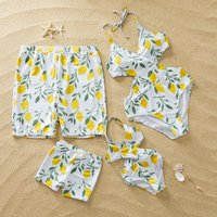 Family Lemon Print Swimsuits