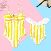 Mommy and Me Yellow Striped Swimsuits