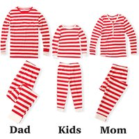 Slim Fit 100% Cotton Striped Family Pajamas in Red