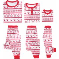 Cheerful and Festive Christmas Tree and Deer Patterned Family Pajamas
