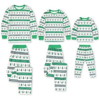 2-piece Super Comfy Christmas Tree Pattern Striped Family Matching Pj's